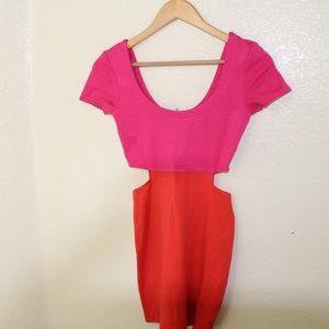 Color Block Cut Out Mini Dress